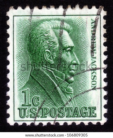 UNITED STATES OF AMERICA - CIRCA 1963: A stamp printed in the United States shows image of Andrew Jackson, the seventh President of the United States, circa 1963 - stock photo