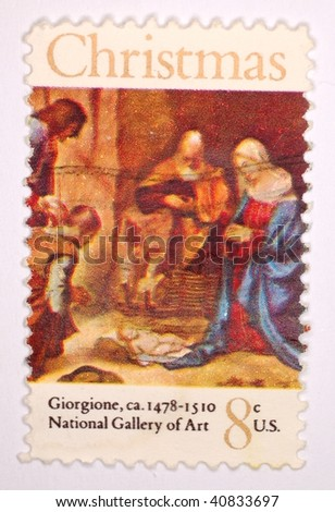 UNITED STATES OF AMERICA - CIRCA 1972: A stamp printed in the United States shows image of art by Giorgione, series, circa 1972