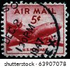 UNITED STATES OF AMERICA - CIRCA 1947: A stamp printed in the USA shows airplane, circa 1947 - stock photo
