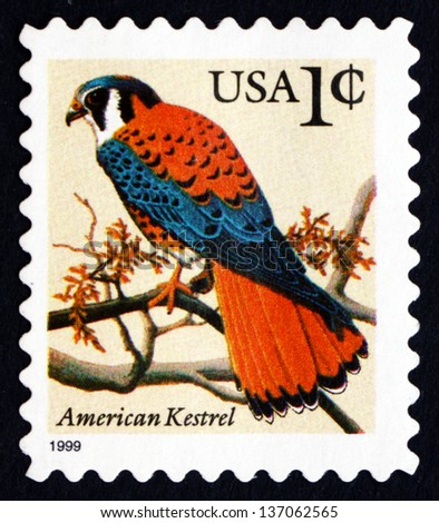 UNITED STATES OF AMERICA - CIRCA 1995: a stamp printed in the USA shows American Kestrel, Falco Sparverius, Falcon, circa 1995 - stock photo