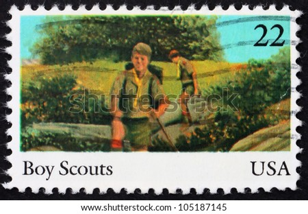 UNITED STATES OF AMERICA - CIRCA 1985: a stamp printed in the USA shows Boy scouts, 75th anniversary of Boy scouts of America, circa 1985 - stock photo