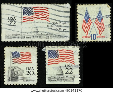 UNITED STATES OF AMERICA - CIRCA 1985: A stamp printed in the USA shows flag, circa 1985