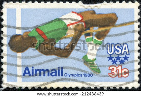 UNITED STATES OF AMERICA - CIRCA 1979: a stamp printed in the USA shows High Jump, 22nd Olympic Games, Moscow, 1980, circa 1979 - stock photo