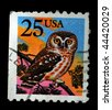 UNITED STATES OF AMERICA - CIRCA 1988: A stamp printed in the USA shows image of an owl, circa 1988 - stock photo