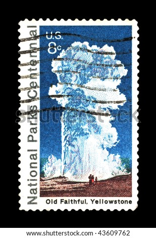 UNITED STATES OF AMERICA - CIRCA 1972: A stamp printed in the USA shows image of Old Faithful at Yellowstone National Park, circa 1972