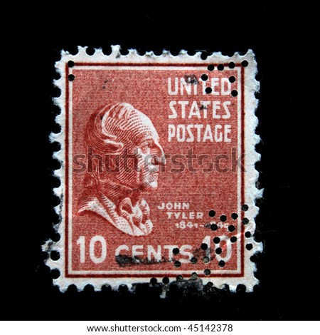 UNITED STATES OF AMERICA - CIRCA 1938: A stamp printed in the USA shows image of President John Tyler,  circa 1938