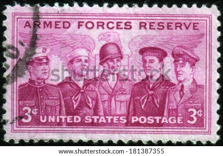 UNITED STATES OF AMERICA - CIRCA 1955: a stamp printed in the USA shows Marine, Coast Guard, Army, Navy and Air Force Personnel, Armed Forces Reserve, circa 1955 - stock photo