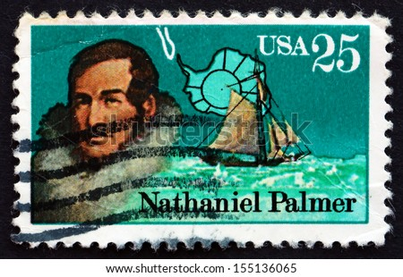UNITED STATES OF AMERICA - CIRCA 1988: a stamp printed in the USA shows Nathaniel Palmer, Antarctic Explorer, circa 1988