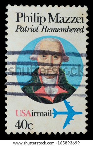 UNITED STATES OF AMERICA - CIRCA 1980: a stamp printed in the USA shows Philip Mazzei, Italian physician and a promoter of liberty, dedicated to the 250th anniversary of the birth, circa 1980 - stock photo