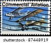 UNITED STATES OF AMERICA - CIRCA 1976: a stamp printed in the USA shows planes, Ford-Pullman Monoplane and Laird Swallow Biplane, circa 1976 - stock photo