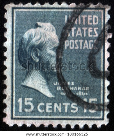 UNITED STATES OF AMERICA - CIRCA 1931: A stamp printed in the USA shows President James Buchanan, circa 1931