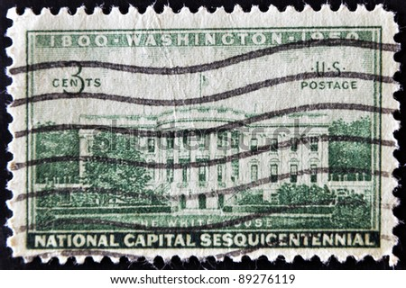 UNITED STATES OF AMERICA - CIRCA 1950: A stamp printed in the USA shows White House, Washington, circa 1950