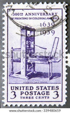 UNITED STATES OF AMERICA - CIRCA 1939: A stamp printed in USA celebrating the 300th Anniversary of Printing in Colonial America, circa 1939. - stock photo