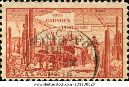 UNITED STATES OF AMERICA - CIRCA 1953: A stamp printed in USA dedicated to Gadsen Purchase, circa 1953