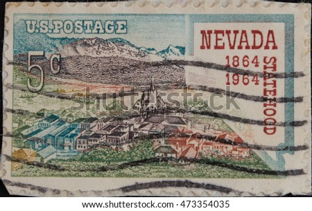 UNITED STATES OF AMERICA - CIRCA 1969: A stamp printed in USA dedicated to the 100th Anniversary of the State of Nevada