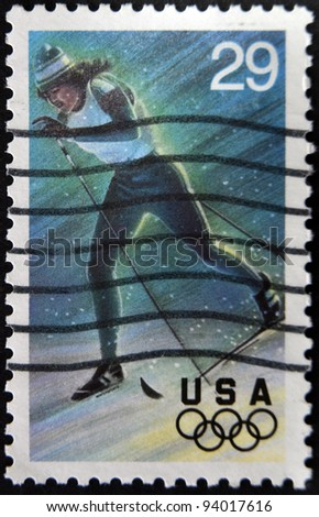 UNITED STATES OF AMERICA - CIRCA 1994: A stamp printed in USA dedicated to Winter Olympics, shows  Cross-Country Skiing, circa 1994