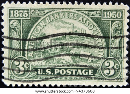 UNITED STATES OF AMERICA - CIRCA 1950: A stamp printed in USA devoted American Bankers Association, circa 1950