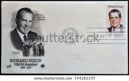 UNITED STATES OF AMERICA - CIRCA 1995: a stamp printed in USA showing an image of president Richard Nixon, circa 1995 - stock photo