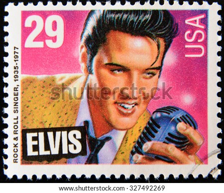 UNITED STATES OF AMERICA - CIRCA 1980: A stamp printed in USA showing Elvis Presley, circa 1980 - stock photo