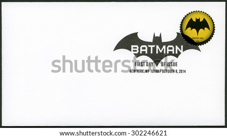 UNITED STATES OF AMERICA - CIRCA 2014: A stamp printed in USA shows Batman, series the 75th anniversary of a DC Comics, circa 2014 - stock photo