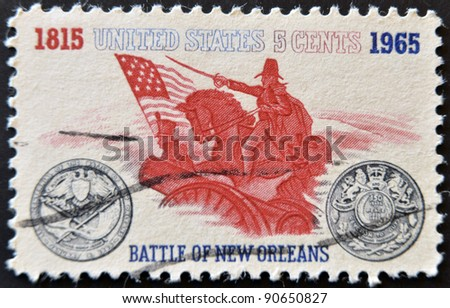 UNITED STATES OF AMERICA - CIRCA 1965: A stamp printed in USA, shows Battle of New Orleans. General Andrew Jackson and Sesquicentennial Medal, circa 1965