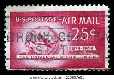UNITED STATES OF AMERICA - CIRCA 1949: A stamp printed in USA shows Boeing Stratocruiser and Globe, Universal Postal Union Issue, circa 1949
