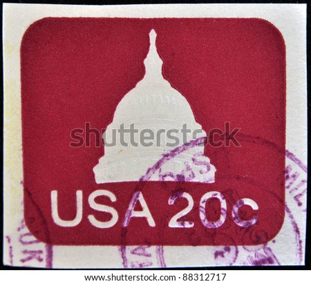 UNITED STATES OF AMERICA - CIRCA 1975: A stamp printed in USA shows capitol, circa 1975 - stock photo