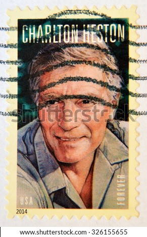 UNITED STATES OF AMERICA - CIRCA 2014: A stamp printed in USA shows Charlton Heston (1923-2008), circa 2014 - stock photo