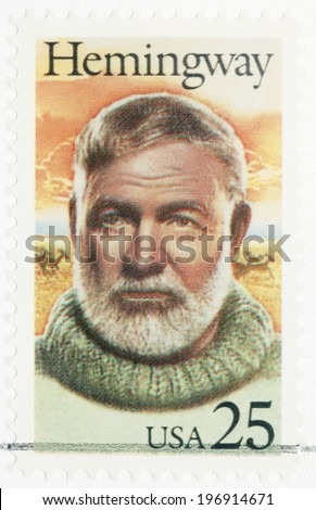 UNITED STATES OF AMERICA - CIRCA 1989: A stamp printed in USA shows Ernest Hemingway (1899-1961), Nobel Prize-winner for Literature, circa 1989 - stock photo