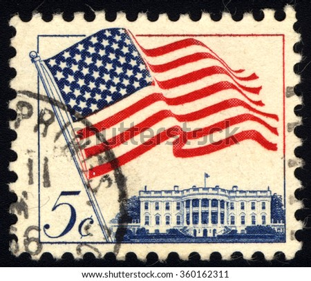 UNITED STATES OF AMERICA - CIRCA 1962: A stamp printed in USA shows Flag over White House, circa 1962 - stock photo