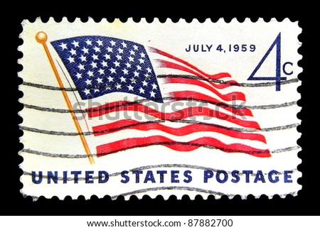 """UNITED STATES OF AMERICA - CIRCA 1959: A stamp printed in USA shows image of American Flag with the inscription """"July 4, 1959"""" from the series """"49 Star American Flag"""", circa 1959 - stock photo"""