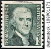 UNITED STATES OF AMERICA - CIRCA 1930: A stamp printed in USA shows image portrait Thomas Jefferson, circa 1930 - stock photo
