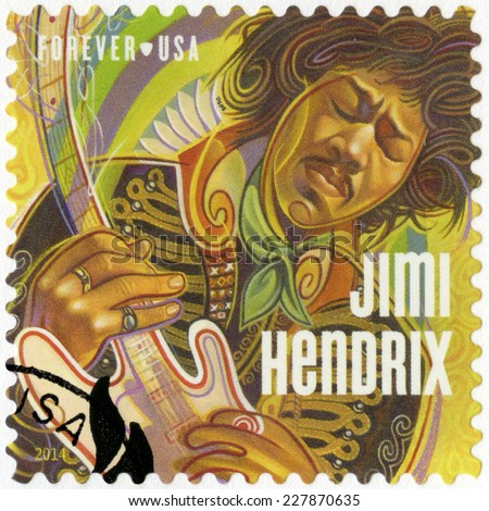 UNITED STATES OF AMERICA - CIRCA 2014: A stamp printed in USA shows Jimi Hendrix, circa 2014  - stock photo