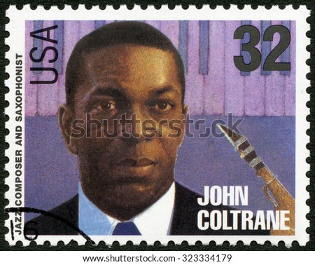 UNITED STATES OF AMERICA - CIRCA 1995: A stamp printed in USA shows John William Coltrane (1926-1967), jazz composer and saxophonist, circa 1995 - stock photo