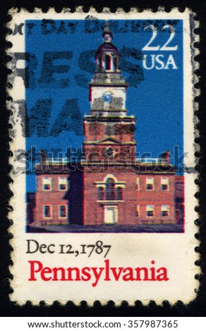 UNITED STATES OF AMERICA - CIRCA 1987: A stamp printed in USA shows Old Building, Pennsylvania, Ratification of the Constitution series, circa 1987