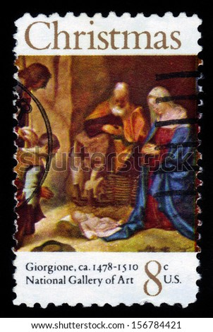 UNITED STATES OF AMERICA - CIRCA 1972: A stamp printed in USA shows painting Adoration of the Shepherds by Giorgione, series Christmas, circa 1972
