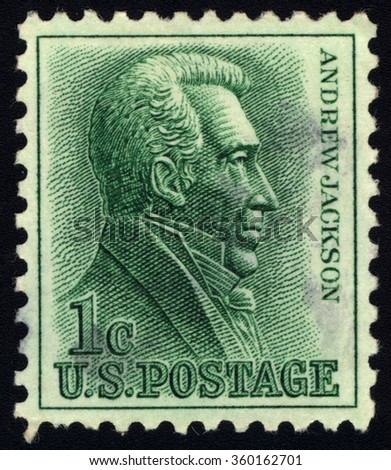 UNITED STATES OF AMERICA - CIRCA 1930: A stamp printed in USA shows Portrait of 7th President of USA - Andrew Jackson, circa 1930. - stock photo