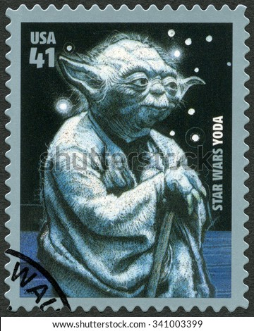 UNITED STATES OF AMERICA - CIRCA 2007: A stamp printed in USA shows portrait of Yoda, series Premiere of Movie Star Wars 30 anniversary, circa 2007 - stock photo