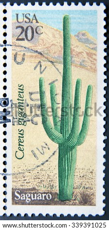 UNITED STATES OF AMERICA - CIRCA 1981: A stamp printed in USA shows Saguaro (Cereus giganteus), circa 1981 - stock photo