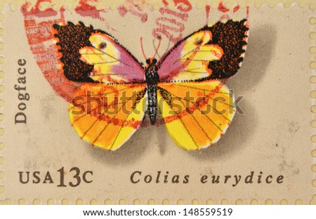 UNITED STATES OF AMERICA - CIRCA 1977: A Stamp printed in USA shows the Dogface, Butterfly, circa 1977  - stock photo