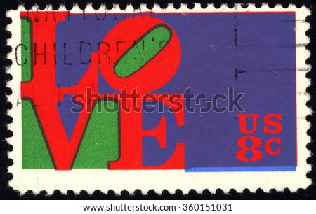 """UNITED STATES OF AMERICA - CIRCA 1973: A stamp printed in USA shows the """"Love"""" by Robert Indiana, circa 1973 - stock photo"""