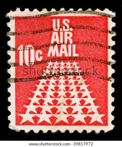 UNITED STATES OF AMERICA - CIRCA 1954: A stamp printed in USA shows US Air Mail, circa 1954