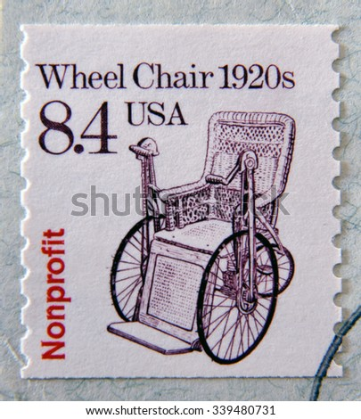 UNITED STATES OF AMERICA - CIRCA 1988: A stamp printed in USA shows Wheel Chair 1920s, Circa 1988 - stock photo
