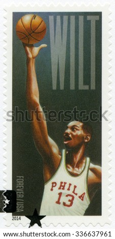 UNITED STATES OF AMERICA - CIRCA 2014: A stamp printed in USA shows Wilton Norman Wilt Chamberlain (1936-1999), basketball player, circa 2014 - stock photo