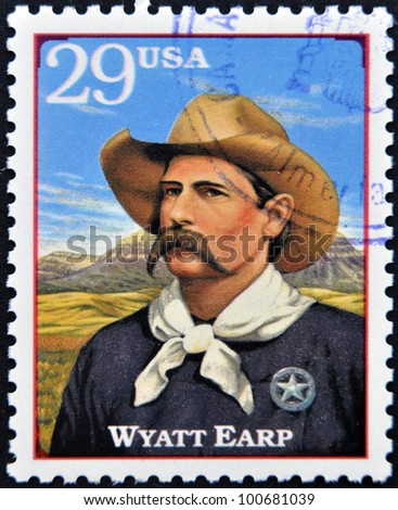 UNITED STATES OF AMERICA - CIRCA 1994: A stamp printed in USA shows Wyatt Berry Stapp Earp, American Old West, circa 1994 - stock photo