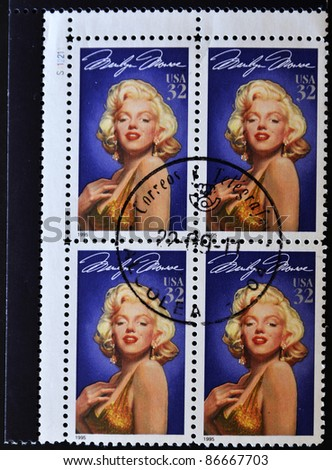 UNITED STATES OF AMERICA - CIRCA 1995: A stamps printed in USA showing a Marilyn Monroe portrait, circa 1995 - stock photo