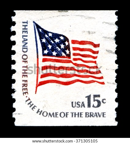 UNITED STATES OF AMERICA - CIRCA 1978: A used postage stamp from the United States of America, portraying a patriotic message, circa 1978. - stock photo