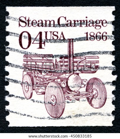 UNITED STATES OF AMERICA - CIRCA 1991: A used postage stamp from the United States of America, featuring an illustration of a Steam Carriage, circa 1991. - stock photo