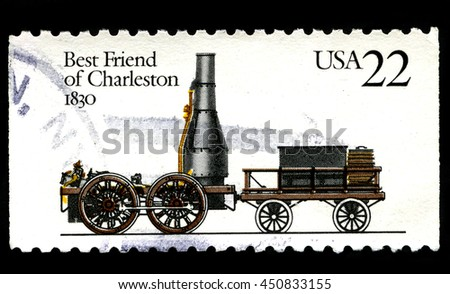 UNITED STATES OF AMERICA - CIRCA 1987: A used postage stamp from the USA depciting an illustration of the Locomotive named Best Friend of Charleston circa 1987.