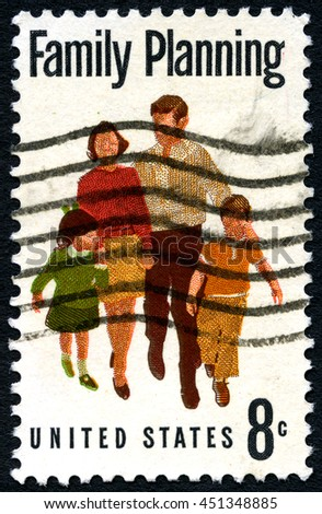 UNITED STATES OF AMERICA - CIRCA 1967: A used postage stamp from the USA depicting a message of Family Planning, circa 1967. - stock photo